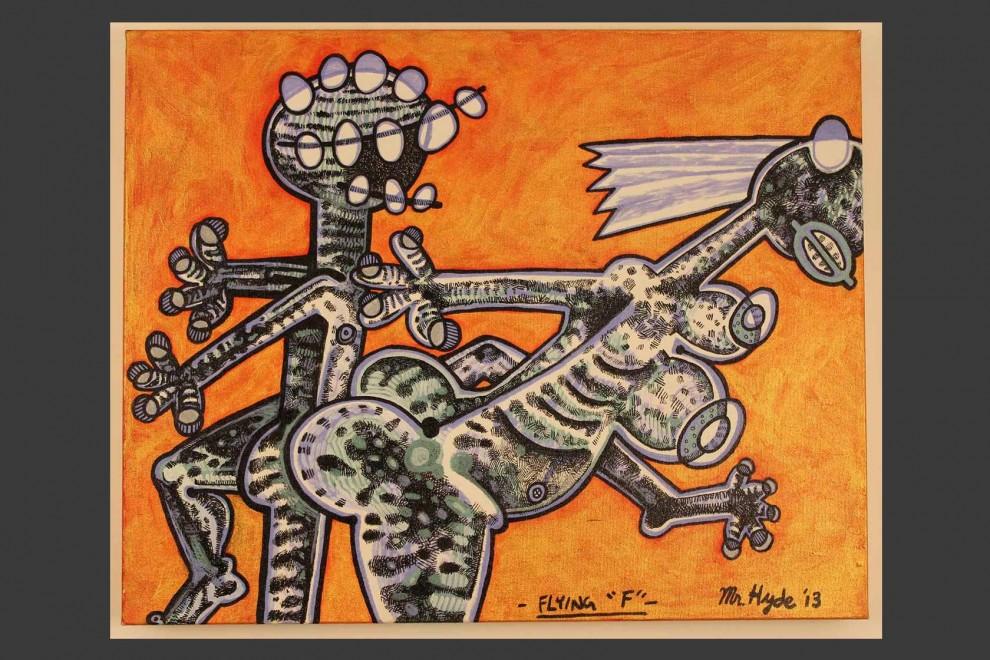 Flying F / acrylic on canvas / 24 x 36 in / Mr. Hydde